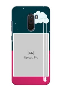Poco F1 custom phone covers: Cute Girl with Cloud Design