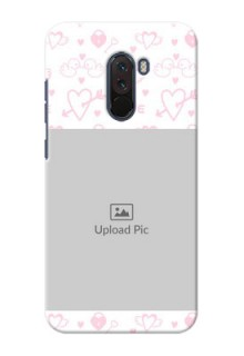 Poco F1 personalized phone covers: Pink Flying Heart Design