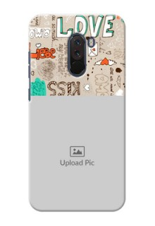 Poco F1 Personalised mobile covers: Love Doodle Pattern