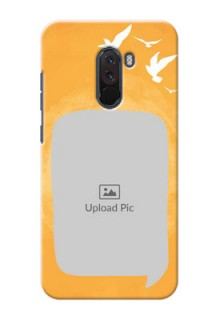Poco F1 Phone Covers: Water Color Design with Bird Icons