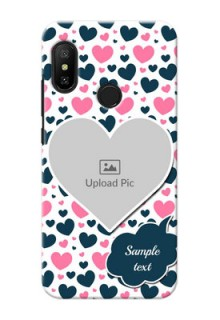 Redmi 6 Pro Mobile Covers Online: Pink & Blue Heart Design