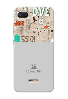 Xiaomi Redmi 6 Personalised mobile covers: Love Doodle Pattern