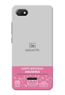 Redmi 6A Custom Mobile Cover with Birthday Line Art Design