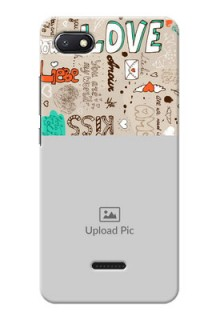 Redmi 6A Personalised mobile covers: Love Doodle Pattern