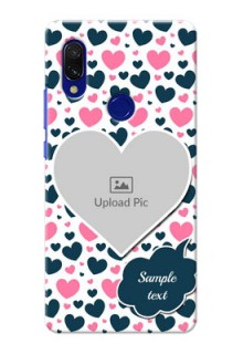Redmi 7 Mobile Covers Online: Pink & Blue Heart Design