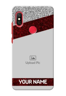 Redmi Note 6 Pro Mobile Cases: Image Holder with Glitter Strip Design