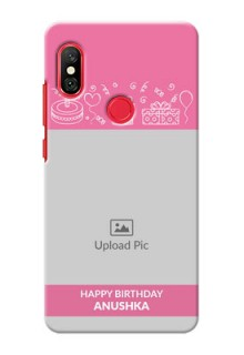 Redmi Note 6 Pro Custom Mobile Cover with Birthday Line Art Design
