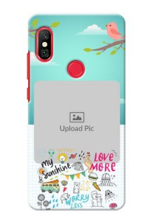 Redmi Note 6 Pro phone cases online: Doodle love Design
