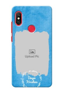 Redmi Note 6 Pro custom mobile cases: Blue Color Vintage Design