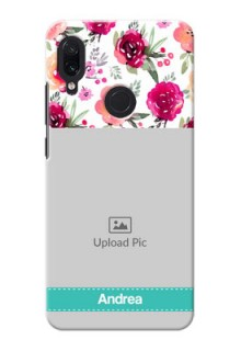 Redmi Note 7 Personalized Mobile Cases: Watercolor Floral Design