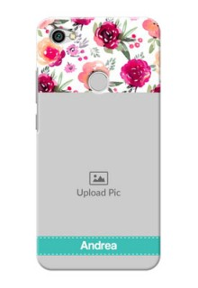 Xiaomi Redmi Y1 watercolour floral design with retro lines pattern Design