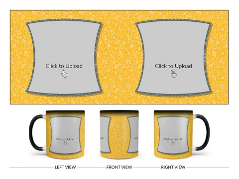 Yellow Colour Background With Flower Pattern Design On Magic Black Mug