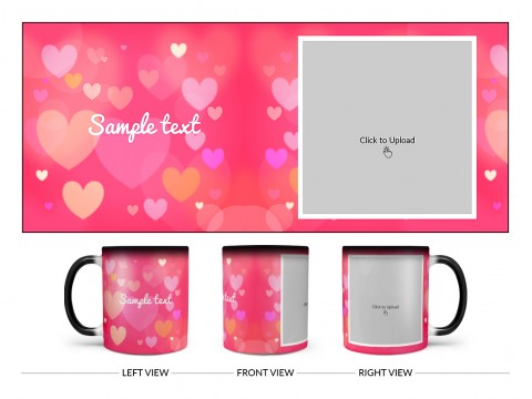Heart Symbols With Dark Pink Background Design On Magic Black Mug