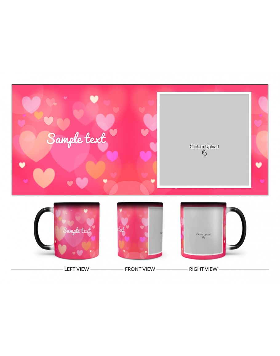heart symbols with dark pink background design on magic black mug heart symbols with dark pink background design on magic black mug