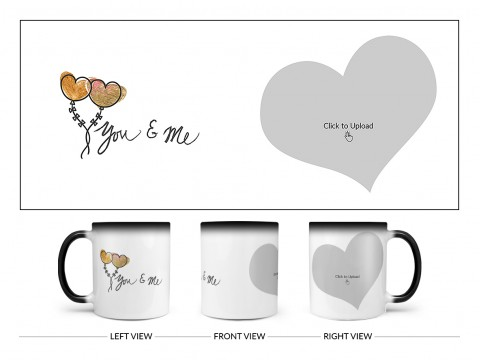 You & Me Design On Magic Black Mug