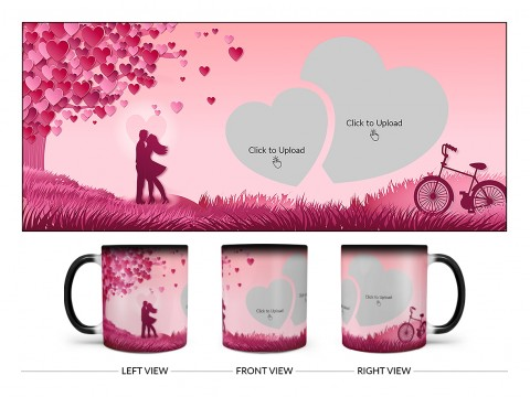 Young Couple In Love World Design On Magic Black Mug