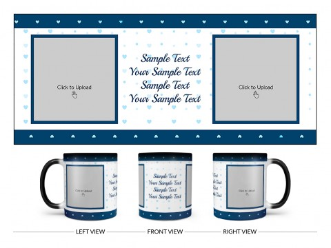 Dark Blue Love Symbols borders With Love Symbol Background Design On Magic Black Mug