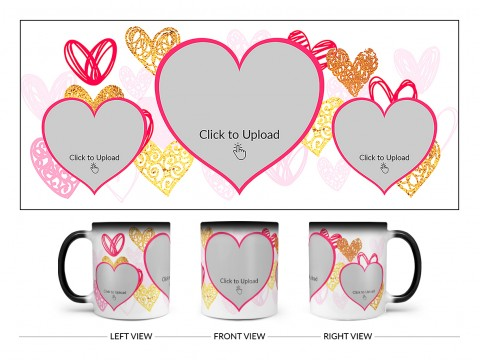 3 Heart Symbols Pic Upload With Golden Love Symbols Background Design On Magic Black Mug
