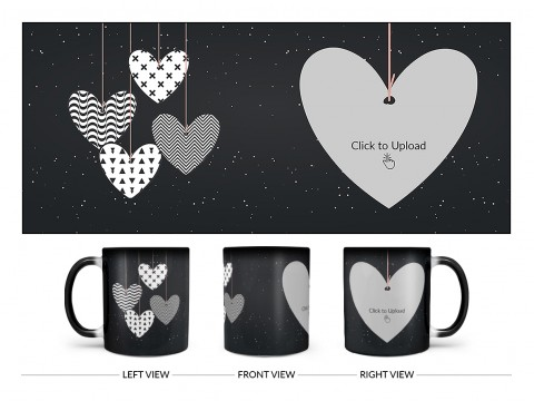 Heart Symbols Hanging In The Sky With Stars Background Design On Magic Black Mug