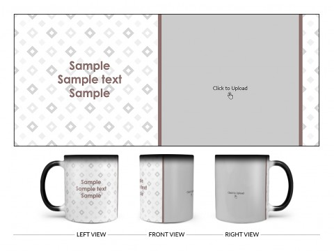 Tilted Square Pattern Background Design On Magic Black Mug