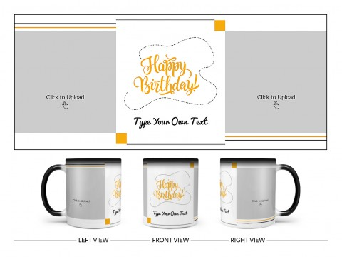 Boy Friend Birthday With 2 Square Pic Upload Design On Magic Black Mug