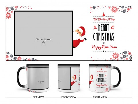We Wish You A Very Merry Christmas Design On Magic Black Mug