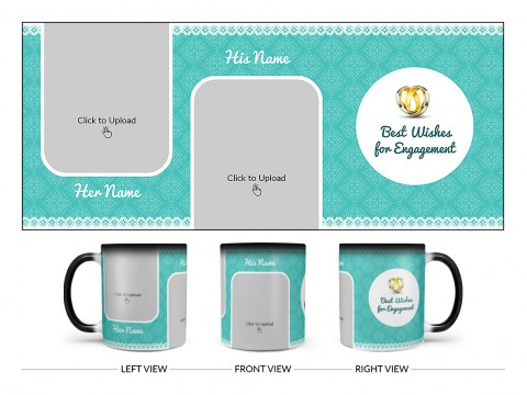 Best Wishes For Engagement With Couple Pic Upload Design On Magic Black Mug