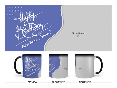 Blue Wave Design With Happy Birthday Text Design On Magic Black Mug