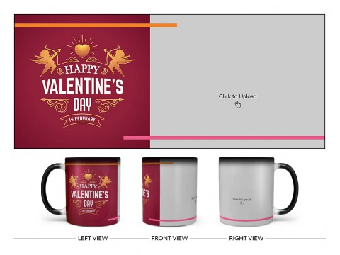 Happy Valentine's Day Design On Magic Black Mug