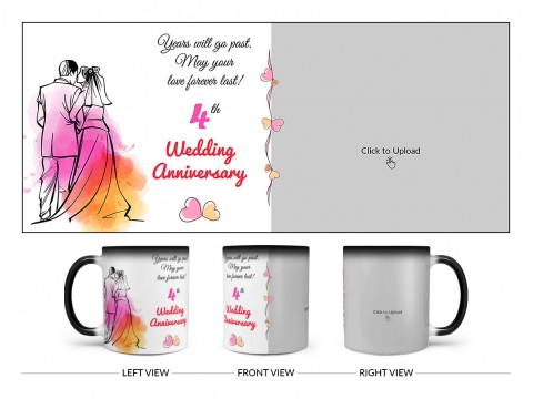 Wedding Anniversary Design On Magic Black Mug