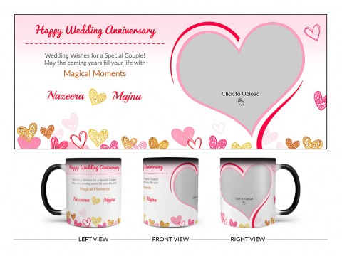 Happy Wedding Anniversary Design On Magic Black Mug