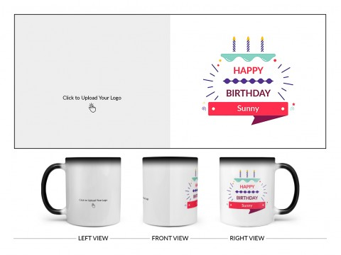 Company Mug With Birthday Message Design On Magic Black Mug