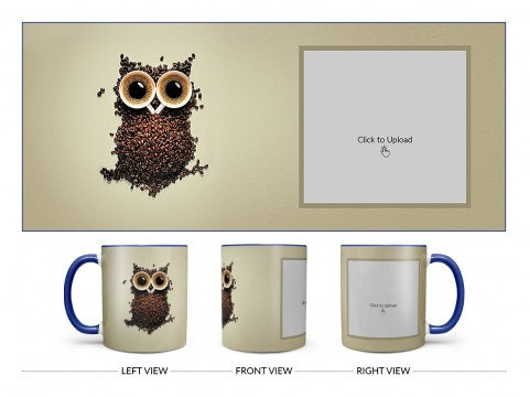 Coffee Beans For Coffee Lovers Design On Dual Tone Blue Mug