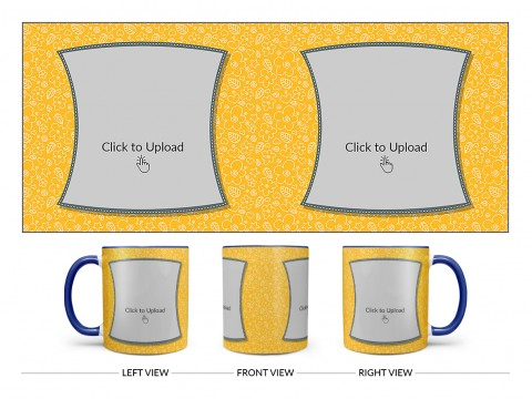 Yellow Colour Background With Flower Pattern Design On Dual Tone Blue Mug