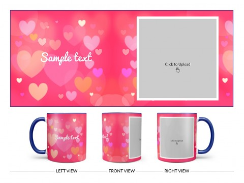 Heart Symbols With Dark Pink Background Design On Dual Tone Blue Mug