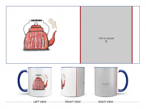 Coffee Jar With Hot Coffees Text For Coffee Lovers Design On Dual Tone Blue Mug