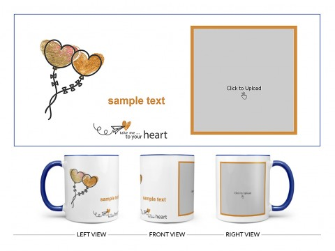 Take Me To Your Heart Quote Design On Dual Tone Blue Mug