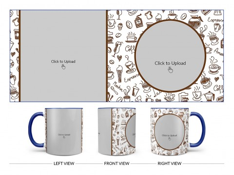 Coffee Mugs, Ice Creams, Coffee Jug & Etc. Pattern Background Design On Dual Tone Blue Mug