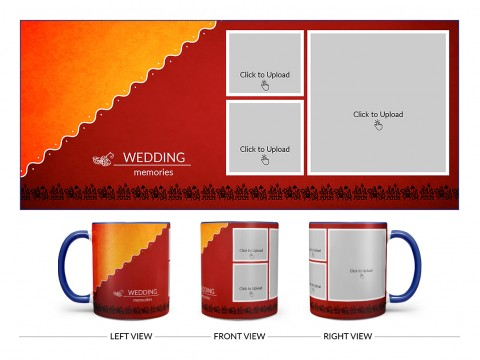 Wedding Memories With Traditional Background Design On Dual Tone Blue Mug