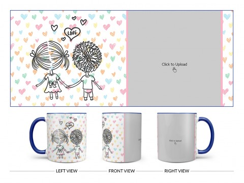 Young Couple Starting Journey For Love / Life Design On Dual Tone Blue Mug