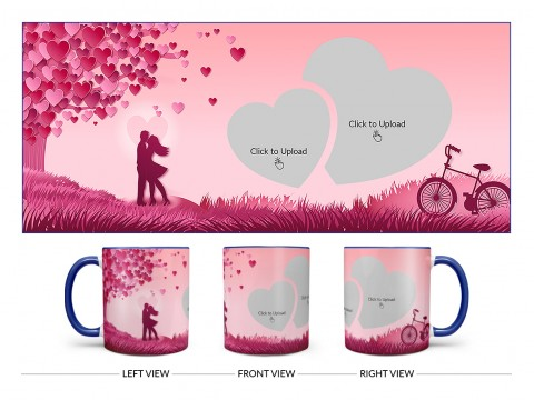 Young Couple In Love World Design On Dual Tone Blue Mug
