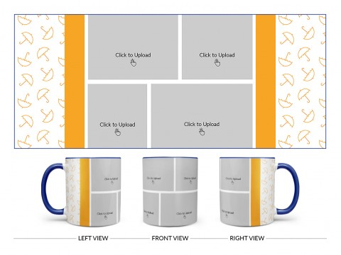 Orange Colour Umbrella Pattern Background With 4 Pic Upload Upload Design On Dual Tone Blue Mug