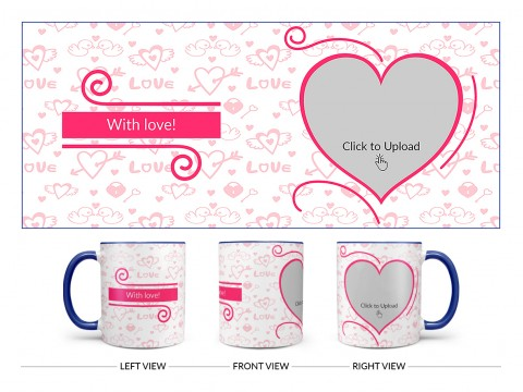Love Pattern Background With Pink Heart Design On Dual Tone Blue Mug