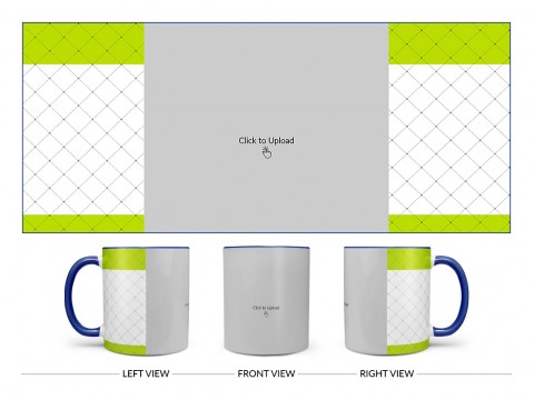 Green borders With Dotted Line Background Design On Dual Tone Blue Mug