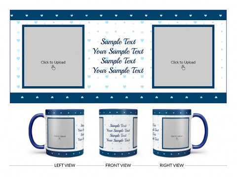 Dark Blue Love Symbols borders With Love Symbol Background Design On Dual Tone Blue Mug