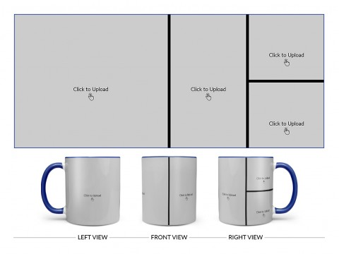 4 Pic Upload Upload Design For Multiple Occasions Design On Dual Tone Blue Mug