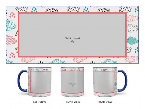 Clouds And Rain Drops Background With Large Single Pic Upload Design On Dual Tone Blue Mug