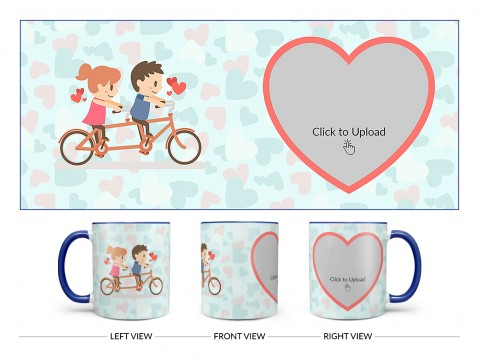 Couple Cycling In Love Symbol Pattern Background Design On Dual Tone Blue Mug