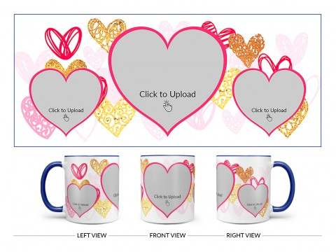 3 Heart Symbols Pic Upload With Golden Love Symbols Background Design On Dual Tone Blue Mug