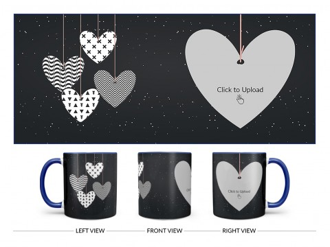 Heart Symbols Hanging In The Sky With Stars Background Design On Dual Tone Blue Mug
